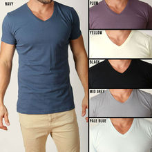 Mens Plain T Shirts Basic Tee Shirt V Shaped Neck