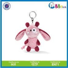 Funny plush big ears animal with metal keychain soft bunny keyring for kids