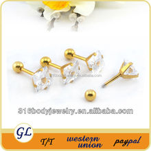 ES01098 zircon surgical steel ear piercing studs