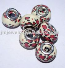 Sexy panther pattern for fashion big hole clay beads in bulk for wholesale