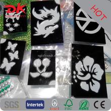 Custom Glue Glitter tattoo paper stencils/pvc stencil stickers