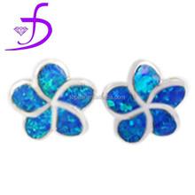 Delicate blue flower opal stud earrings only for beautiful girls