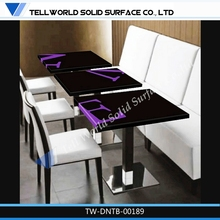 TOP SALES Artificial Marble White Gloss Black Dining Table