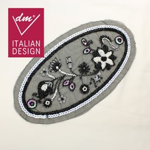 New design oval shape beaded sequin applique for garments