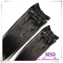 Beautiful quality clip hair extension/clip on hair extensions