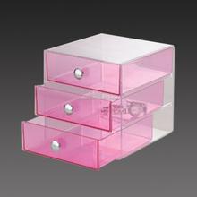 Manufacturer customized pink acrylic makeup organizer with drawers