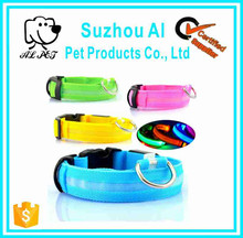 Colorful Adjustable Nylon Pet Collar Reflective Effect Led Dog Leash