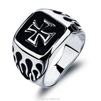 Fashion domineering stainless steel flame cross punk Ring
