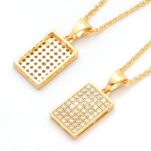 Simple design gold rectangle tag pendant necklace for friends men wx2379g aloadofball Gallery