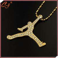 Clothe Matching 18K Golden Chain Basketball Star Micro Paved 18K Golden Pendant Necklace Distributor