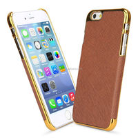 New Luxury Leather with Gold Frame Chrome Hard Back Case Cover For iPhone 5 5S 5G Mobile Phone case