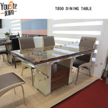 Marble top Wooden design model dining table with price