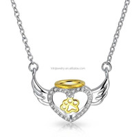 Two Tones Silver Gold Plated Angel Wings Heart Pendant Necklace With Dog Paw Print