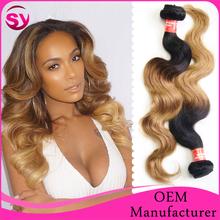 "2015 New Arrival Brazilian Virgin Hair, Top Quality 8""-32"" Body Wave Ombre 1B/27 Virgin Brazilian Human Hair Extension"
