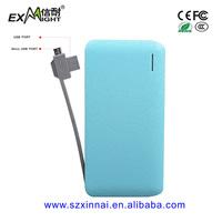 2015 alibaba USA hot sellers 6000 mah power bank external battery slim powerbank built in cable