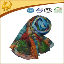 Fashion Design Digital Printed Pure Silk Material Wholesale 100 Silk Chiffon Scarf For Lady