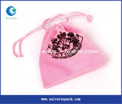 Bags Pink Design Velvet Pouch With Printing Customized Logo Bag For Sale