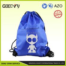 China alibaba wholesale new fashion nylon polyester cartoon drawstring bag with zip pocket for hiking, travelling