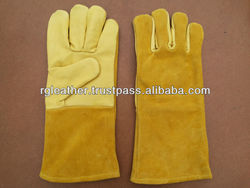 Yellow Grain and Split Combination Cow Leather Welding Gloves