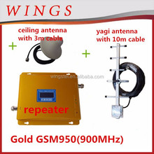 cellphone signal booster gold gsm950 set including outdoor yagi antenna with 10m cable + indoor ceiling antenna with 3m cable
