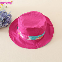 pink flower printed fedora hat for baby mini straw hat for girls children summer hat