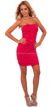 Sexy Slim Sheath Short Red Cocktail Dresses 2015 Fashion Bandage Strapless Italian Design Evening Dress Open Back (MAE0103)
