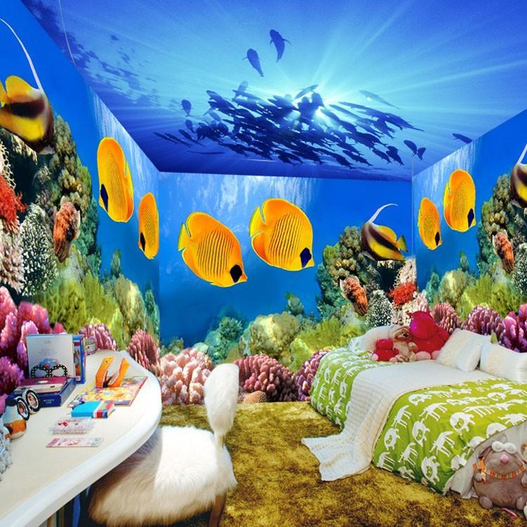 Wonderful decor hotel restaurant home spa use 3d floor for Aquarium mural wallpaper