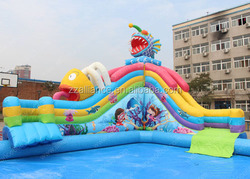 giant shark and dragon on land theme water park