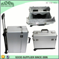 Custom high quality waterproof abs silver luggage case trolley suitcase