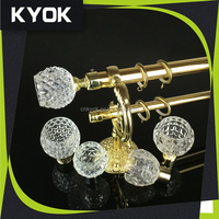 KYOK good quality double curtain rod bracket golden, metal curtain eyelet grommet, beautiful pattern resin curtain finials