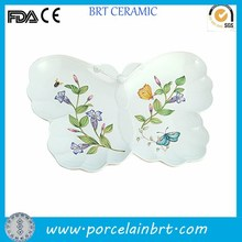 White butterfly design slick custom decorate Dolomite Dish