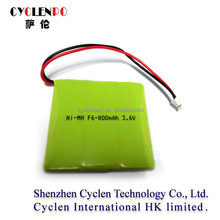 Factory price nimh rechargeable battery 3.6v f6 800mah nimh battery pack