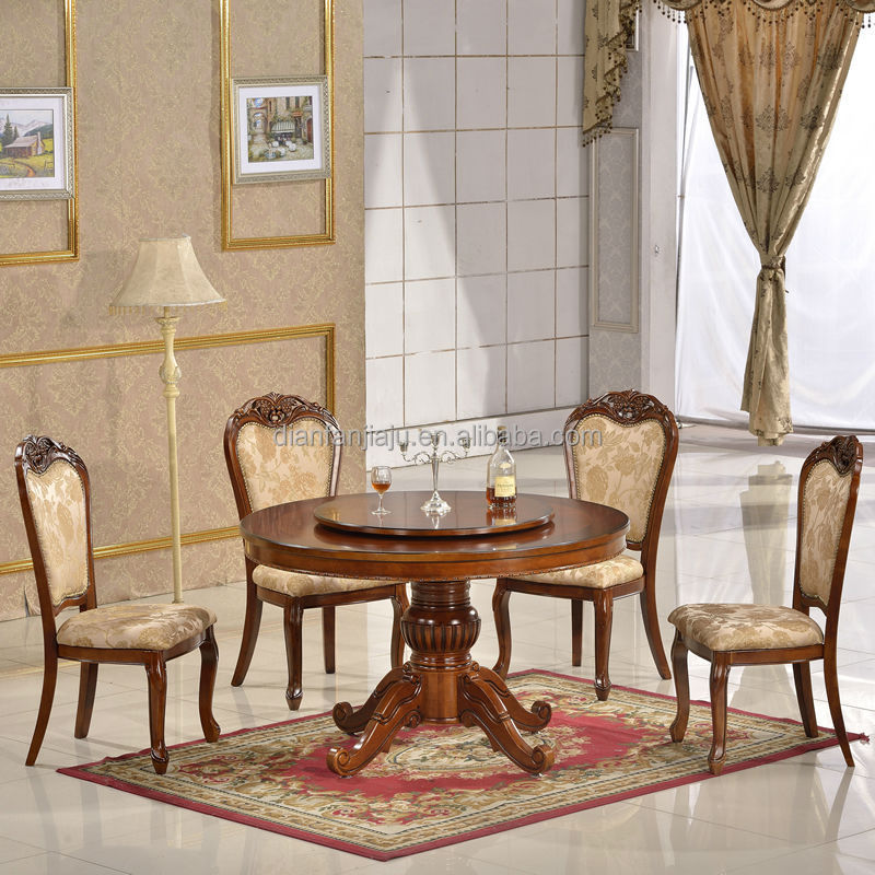 High quality antique wooden carved round dining table for Quality wood dining tables