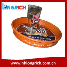 anti-slip round metal serving tray with printing for beer promotion
