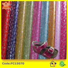 wholesale glitter fabric with flower printing for shoes