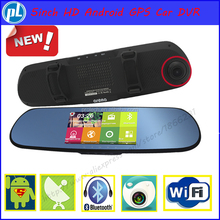2015 New arrival 5.0 inch IPS SCREEN Android rearview mirror camera GPS, Car DVR