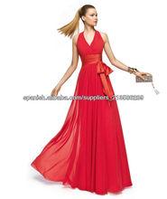 2013 V-neckline acanalado longitud del piso por encargo de la gasa cabestro rojo vestido de noche CWFXe07