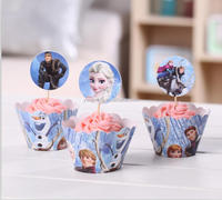 2015 NEW hot sale Frozen cupcake wrappers & toppers birthday party favors decoration
