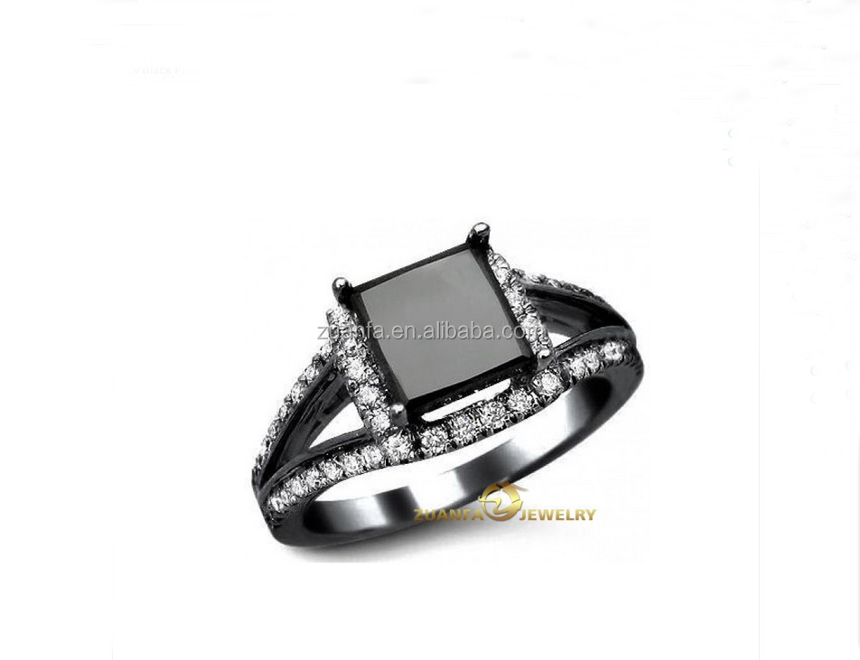 wedding ring 3 14 ct black princess cut engagement