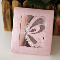 Pink Die Cut Make Butterfly Shape Carriage Scroll Wedding Invitation
