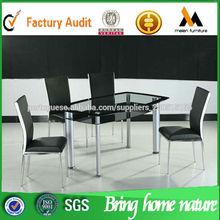 mesa de jantar de vidro fixa új stílus Vidro mesa de jantar e 6 cadeiras conjunto TD-024