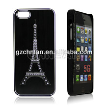 Diamond Effiel tower design case for iphone 5 2014 wholesale mobile rhinestone phone case