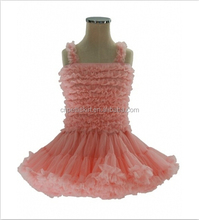 2015 elegance new girls summer clear Pastel Orange color doll blossom kids clothing wholesale baby girl bouquet tutu show dress