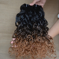 Wet And Wavy Ombre Colored Indian Human Hair Weave Hair Manufacturers In China