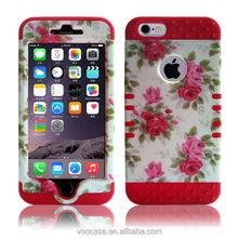 Voocase Silicone with red PC combo Protector mobile celline phone case with red flower for iPhone 5/5s