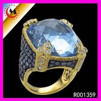 Yellow Gold Mens Sapphire Aquamarine Rings
