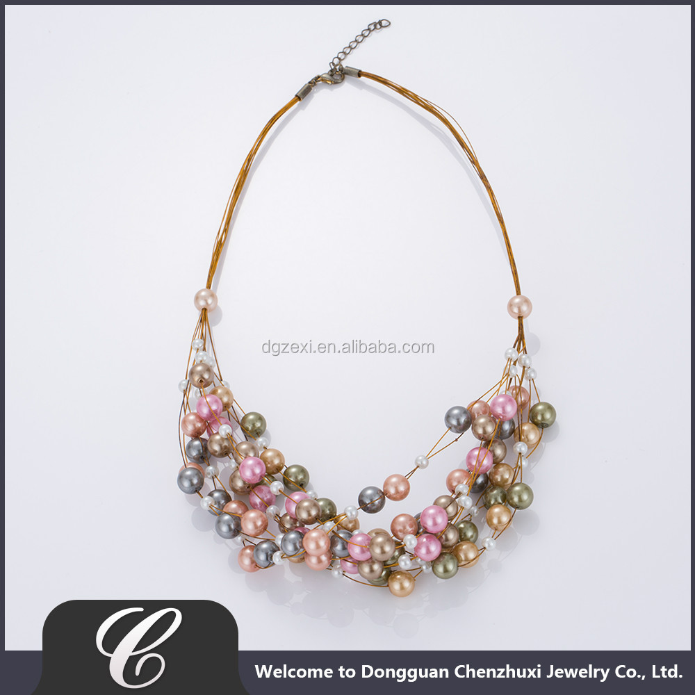 Fancy Necklace of Full Hole Glass Pearl 2