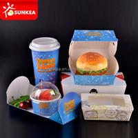 Custom logo printed take away paper fast food packing