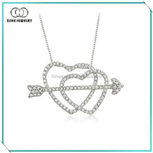 Girls clear cz silver heart and arrow necklace