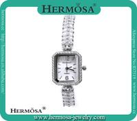 Hermosa Jewelry NEW Arrival Pretty Multi White Topaz Band 18k Platinum Luxury Wrist Watch HS0025W